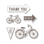 Sizzix - Hero Arts - Framelits - Die Cutting Template and Repositionable Rubber Stamp Set - Bicycle