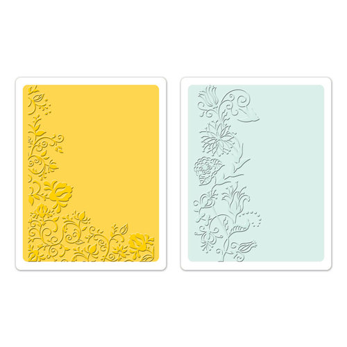 Sizzix - Textured Impressions - Greetings Collection - Embossing Folders - Floral Vines Set