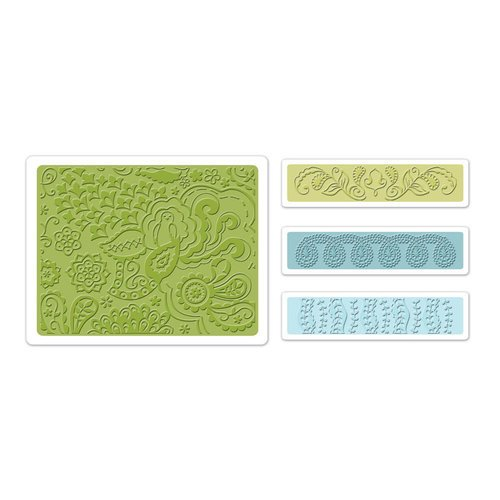 Sizzix - Textured Impressions - Bohemia Collection - Embossing Folders - Bohemian Botanicals Set