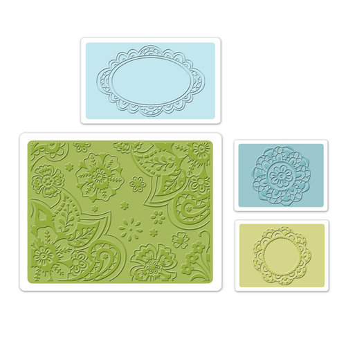 Sizzix - Textured Impressions - Bohemia Collection - Embossing Folders - Free Fall Florals Set