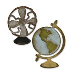 Sizzix - Tim Holtz - Movers and Shapers Die - Alterations Collection - Die Cutting Template - Vintage Fan and Globe Set