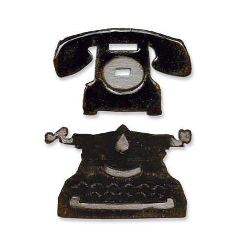 Sizzix - Tim Holtz - Alterations Collection - Movers and Shapers Die - Vintage Telephone and Typewriter Set