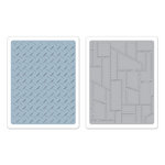 Sizzix - Tim Holtz - Texture Fades - Alterations Collection - Embossing Folders - Diamond Plate and Riveted Metal Set