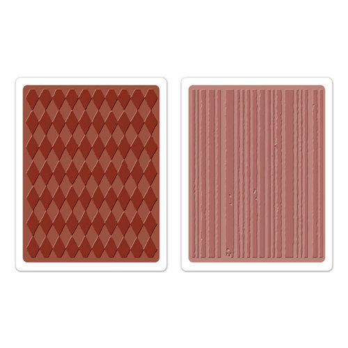 Sizzix - Tim Holtz - Texture Fades - Alterations Collection - Embossing Folders - Harlequin and Stripes Set