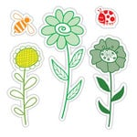 Sizzix - Hero Arts - Framelits - Die Cutting Template and Repositionable Rubber Stamp Set - Garden Flowers Set
