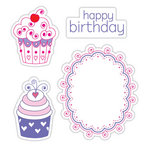 Sizzix - Hero Arts - Framelits - Die Cutting Template and Repositionable Rubber Stamp Set - Happy Birthday Cupcakes Set
