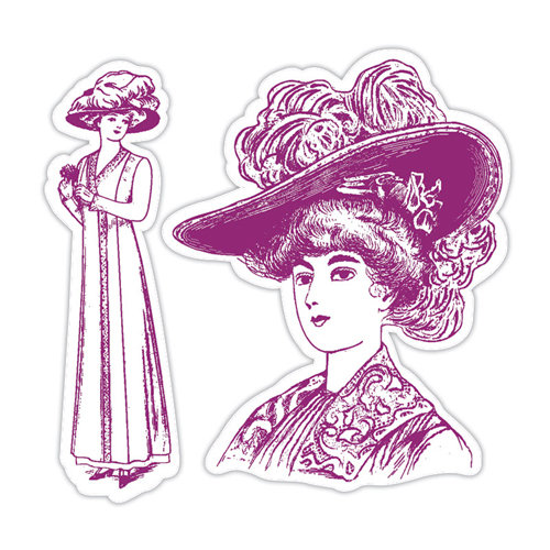 Sizzix - Hero Arts - Framelits Die and Repositionable Rubber Stamp Set - Lady with Hats Set