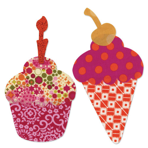 Sizzix - Bigz L Die - Quilting - Die Cutting Template - Cupcake Ice Cream Cone with Cherry and Candle