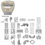Sizzix - EClips - Tim Holtz - Alterations Collection - Electronic Shape Cutting System - Cartridge - Stamp2Cut - Number 1