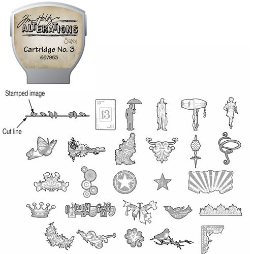 Sizzix - EClips - Tim Holtz - Alterations Collection - Electronic Shape Cutting System - Cartridge - Stamp2Cut - Number 3