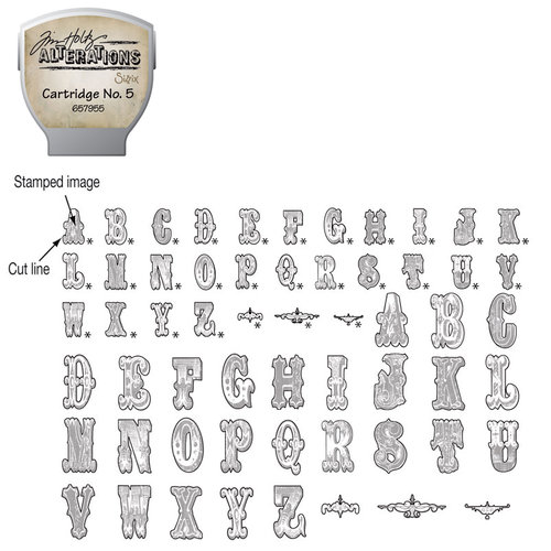 Sizzix - EClips - Tim Holtz - Alterations Collection - Electronic Shape Cutting System - Cartridge - Stamp2Cut - Number 5