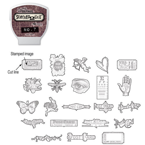 Sizzix - EClips - Tim Holtz - Alterations Collection - Electronic Shape Cutting System - Cartridge - Stamp2Cut - Number 7