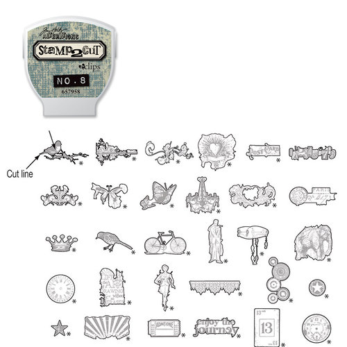 Sizzix - EClips - Tim Holtz - Alterations Collection - Electronic Shape Cutting System - Cartridge - Stamp2Cut - Number 8