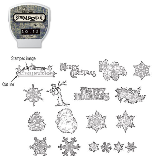 Sizzix - EClips - Tim Holtz - Alterations Collection - Electronic Shape Cutting System - Cartridge - Stamp2Cut - Number 10