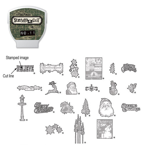 Sizzix - EClips - Tim Holtz - Alterations Collection - Electronic Shape Cutting System - Cartridge - Stamp2Cut - Number 11