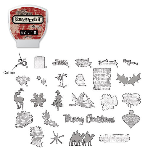 Sizzix - EClips - Tim Holtz - Alterations Collection - Electronic Shape Cutting System - Cartridge - Stamp2Cut - Number 16