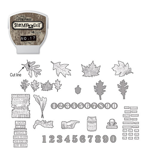 Sizzix - EClips - Tim Holtz - Alterations Collection - Electronic Shape Cutting System - Cartridge - Stamp2Cut - Number 17