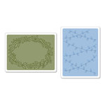 Sizzix - Textured Impressions - Embossing Folders - Christmas Lights and Holly Set