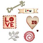 Sizzix - Sizzlits Die - From the Heart Collection - Die Cutting Template - Medium - Hearts and More Set