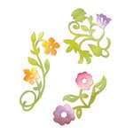 Sizzix - Sizzlits Die - Botanical Sanctuary Collection - Die Cutting Template - Medium - Flower Vines Set