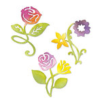 Sizzix - Sizzlits Die - Botanical Sanctuary Collection - Die Cutting Template - Medium - Sunrise Blossoms Flower Set