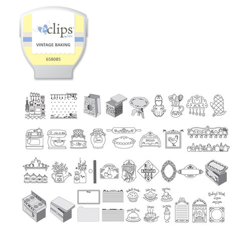 Sizzix - EClips - Electronic Shape Cutting System - Cartridge - Vintage Baking