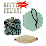Sizzix - Basic Grey - Bigz and Sizzlits Die - Nordic Holiday Collection - Die Cutting Template - Bookplate, Tags and Happy Holiday