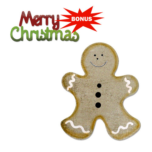 Sizzix - BasicGrey - Nordic Holiday Collection - Bigz and Sizzlits Die - Gingerbread Man and Merry Christmas