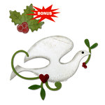 Sizzix - Basic Grey - Bigz and Embosslits Die - Nordic Holiday Collection - Die Cutting Template - Dove and Holly