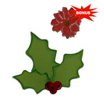 Sizzix - Basic Grey - Bigz and Embosslits Die - Nordic Holiday Collection - Die Cutting Template - Holly and Poinsettia