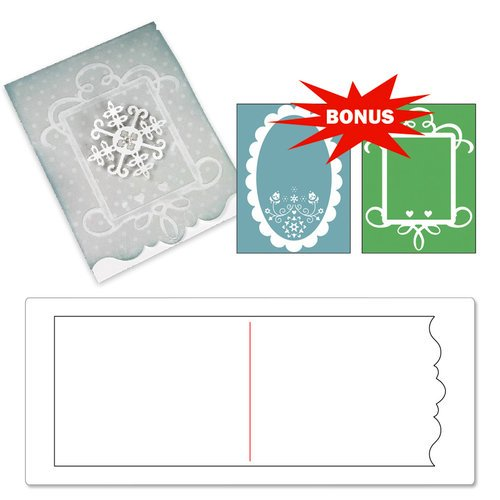 Sizzix - BasicGrey - Nordic Holiday Collection - Bigz XL Die and Embossing Folder - Card, Ornate 3 and Frames Set