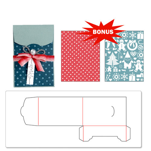 Sizzix - BasicGrey - Bigz Extra Long Die and Embossed Folders - Gift Card Holder and Snow Village Set
