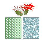 Sizzix - Basic Grey - Textured Impressions and Sizzlits Die - Nordic Holiday Collection - Embossed Folders and Die Cutting Template - Alpine Pattern and Flowers Set