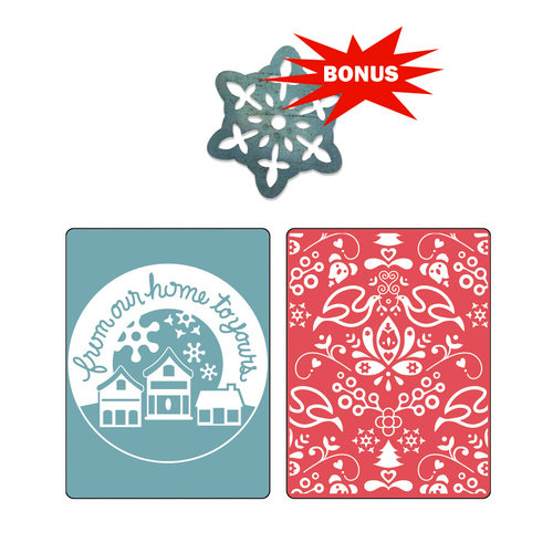 Sizzix - BasicGrey - Nordic Holiday Collection - Sizzlits Die and Embossing Folder - From Our Home and Yule Set