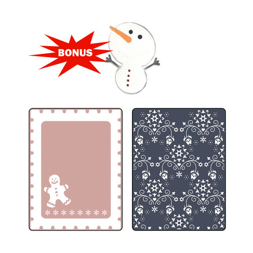 Sizzix - BasicGrey - Nordic Holiday Collection - Sizzlits Die and Embossing Folder - Gingerbread Man and Nordic Flowers Set