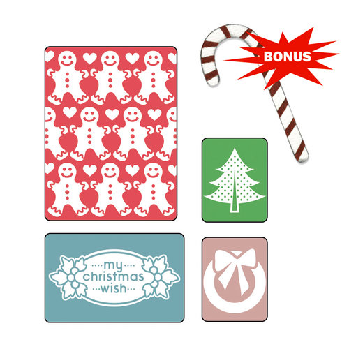 Sizzix - BasicGrey - Nordic Holiday Collection - Sizzlits Die and Embossing Folder - My Christmas Wish Set