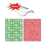 Sizzix - Basic Grey - Textured Impressions and Sizzlits Die - Nordic Holiday Collection - Embossed Folders and Die Cutting Template - Nordic Sweater and Cross Stitch Set