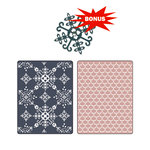 Sizzix - Basic Grey - Textured Impressions and Sizzlits Die - Nordic Holiday Collection - Embossed Folders and Die Cutting Template - Santa Lucia and Moguls Set