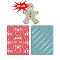 My Christmas Wish Set by BasicGrey Sizzix Textured Impressions Embossing Folders with Bonus Sizzlits Die