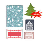 Sizzix - Basic Grey - Textured Impressions and Sizzlits Die - Nordic Holiday Collection - Embossed Folders and Die Cutting Template - Snowmen Set