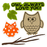 Sizzix - Framelits - Holiday Collection - Die Cutting Template and Repositionable Rubber Stamp Set - Autumn Owls