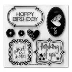Sizzix - Framelits - Holiday Collection - Die Cutting Template and Repositionable Rubber Stamp Set - Birthday and Frames