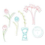 Sizzix - Framelits - Holiday Collection - Die Cutting Template and Repositionable Rubber Stamp Set - Flowers and Vase
