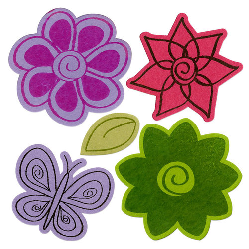 Sizzix - Holiday Collection - Framelits Die and Repositionable Rubber Stamp Set - Flowers 4