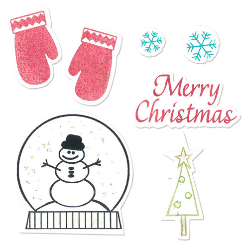 Sizzix - Holiday Collection - Framelits Die and Repositionable Rubber Stamp Set - Mittens and Snow Globe