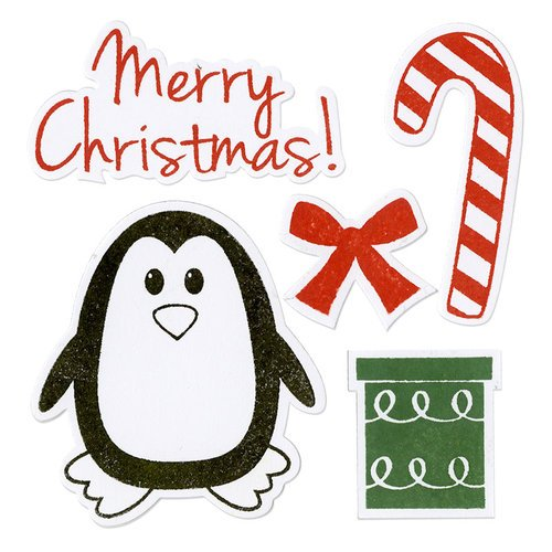 Sizzix - Holiday Collection - Framelits Die and Repositionable Rubber Stamp Set - Penguin and Candy Cane