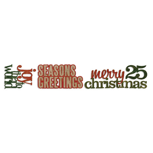 Sizzix - Tim Holtz - Alterations Collection - Sizzlits Decorative Strip Die - Stacked Words, Christmas