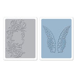 Sizzix - Tim Holtz - Texture Fades - Alterations - Embossing Folders - Flourish and Wings Set