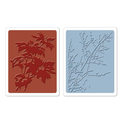 Sizzix - Tim Holtz - Texture Fades - Alterations Collection - Embossing Folders - Brush Poinsettias and Winter Berries Set