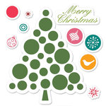 Sizzix - Hero Arts - Framelits - Die Cutting Template and Repositionable Rubber Stamp Set - Merry Christmas Tree